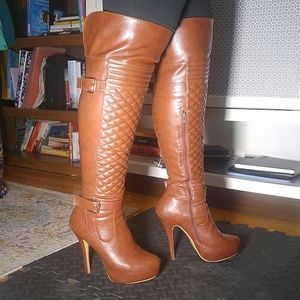 Shoes - Brown thigh high boots